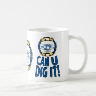 Can U Dig It Volleyball Blue Gold Coffee Mug