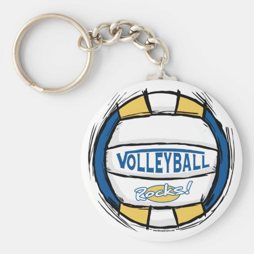 Can U Dig It Volleyball Blue Gold Key Chain