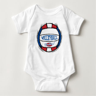 Can U Dig It Volleyball Blue Red Baby Bodysuit