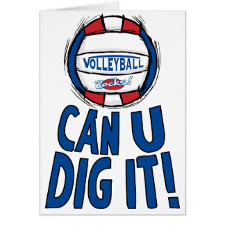 Can U Dig It Volleyball Blue Red Greeting Card