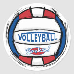 Can U Dig It Volleyball Blue Red Classic Round Sticker