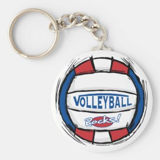 Can U Dig It Volleyball Blue Red Keychain
