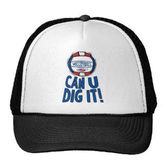 Can U Dig It Volleyball Blue Red Trucker Hat