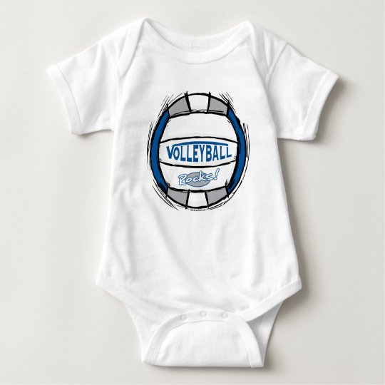 Can U Dig It Volleyball Blue Silver Baby Bodysuit
