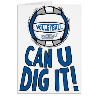 Can U Dig It Volleyball Blue Silver Greeting Card