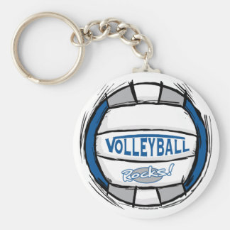Can U Dig It Volleyball Blue Silver Keychain
