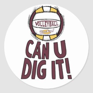 Can U Dig It Volleyball Classic Round Sticker
