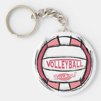 Can U Dig It Volleyball Pink Basic Round Button Keychain