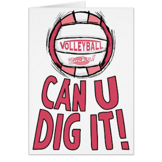 Can U Dig It Volleyball Pink Greeting Card