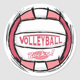 Can U Dig It Volleyball Pink Classic Round Sticker