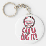 Can U Dig It Volleyball Pink Key Chains