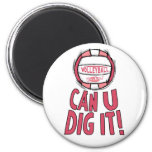 Can U Dig It Volleyball Pink Refrigerator Magnet