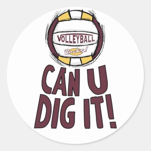 Can U Dig It Volleyball Round Sticker