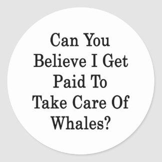 Can You Believe I Get Paid To Take Care Of Whales Classic Round Sticker
