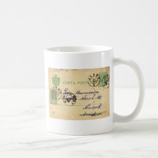 Can you decipher this vintage writing? classic white coffee mug