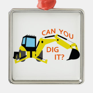Can You Dig It? Square Metal Christmas Ornament