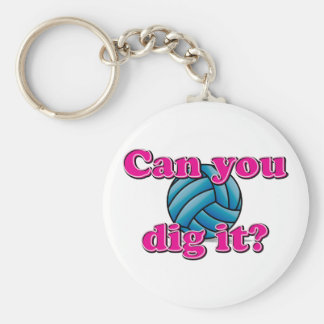 Can you dig it? Volleyball! Basic Round Button Keychain