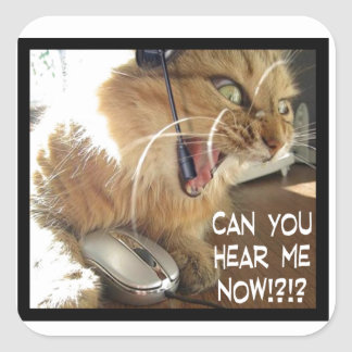 can you hear me now? square sticker