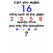 Can You Make 16 Using Four Digits Math Puzzle