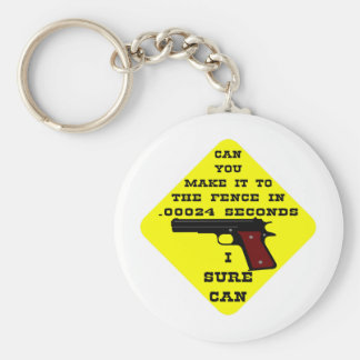 Can You Make It To The Fence In .00024 Seconds? Th Basic Round Button Keychain