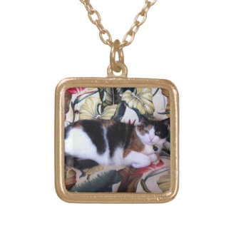 Can You See Me Calico Cat Gold Necklace