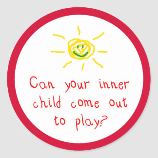 Can your inner child come out and play? classic round sticker
