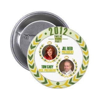 Caña de Jill/Tom Cary para el presidente/Veep en 2 Pin Redondo De 2 Pulgadas
