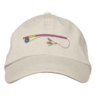 Caña de pescar con la mosca gorra de béisbol bordada