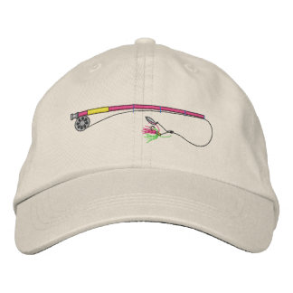 Caña de pescar con la mosca gorra de beisbol