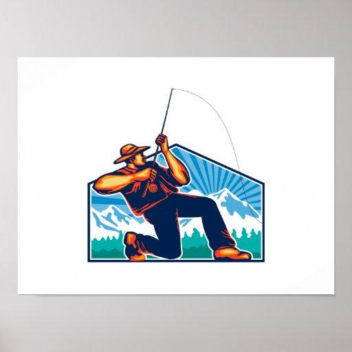 Caña de pescar de vacilación del pescador de la mo impresiones