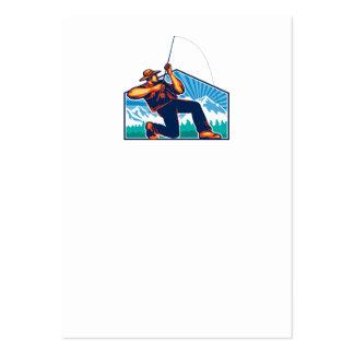 Caña de pescar de vacilación del pescador de la mo plantillas de tarjetas de visita