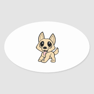 canaan dog cartoon.png oval sticker