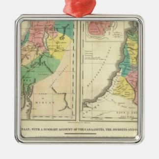 Canaan - Israel Atlas Map Square Metal Christmas Ornament