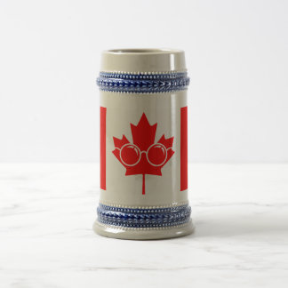 Canad flag with glasses on maple beer stein