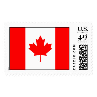 Canad flag with glasses on maple postage stamps