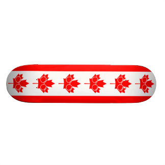 Canad flag with glasses on maple skateboard deck