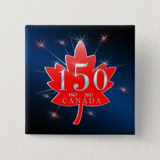Canada 150 Birthday Celebration Maple Leaf Pinback Button
