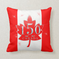 Canada 150 Birthday Celebration Maple Leaf Throw Pillow