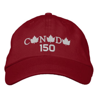 Canada 150 Embroidered Red Baseball Cap