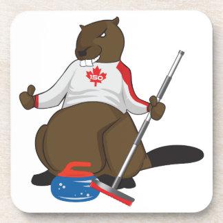 Canada 150 in 2017 Beaver Curling Main Beverage Coaster