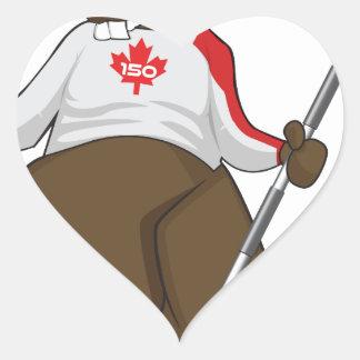 Canada 150 in 2017 Beaver Curling Main Heart Sticker