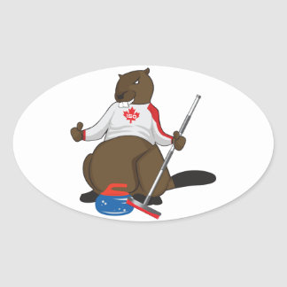 Canada 150 in 2017 Beaver Curling Main Oval Sticker