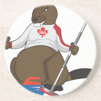 Canada 150 in 2017 Beaver Curling Main Sandstone Coaster