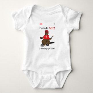 Canada 150 in 2017 Beaver Hockey Celebrating Baby Bodysuit