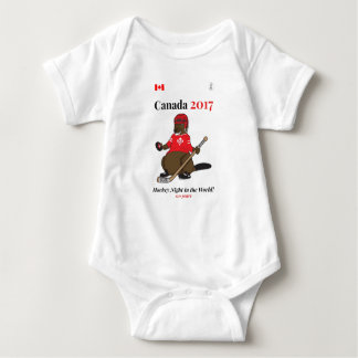 Canada 150 in 2017 Beaver Hockey Night World Baby Bodysuit