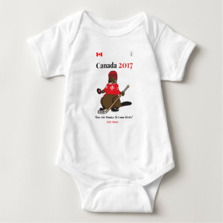 Canada 150 in 2017 beaver hockey Stanley Baby Bodysuit
