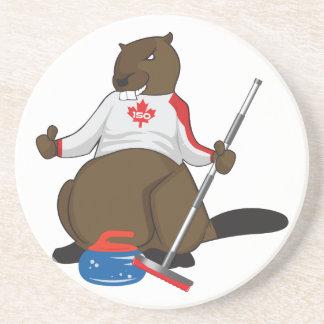 Canada 150 in 2017 Curling Beaver Merchandise Drink Coaster
