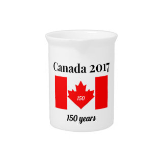 Canada 150 in 2017 Heart Flag Beverage Pitcher
