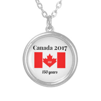 Canada 150 in 2017 Heart Flag Silver Plated Necklace