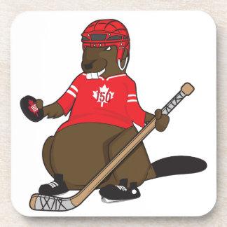 Canada 150 in 2017 Hockey Beaver Beverage Coaster